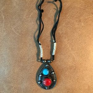 Turquoise and red boho pendant necklace